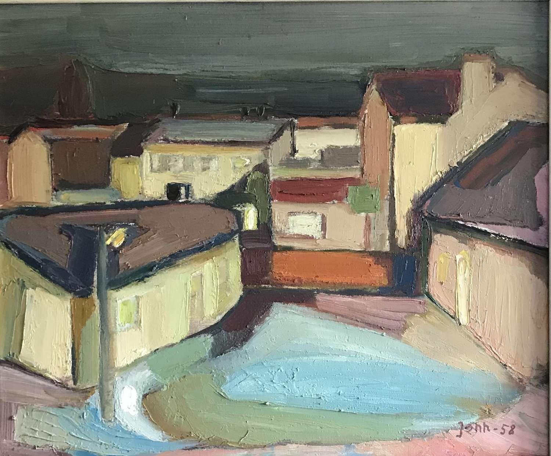 Gunnar Jonn Urban Street Scene Sweden Oil on Canvas 1958