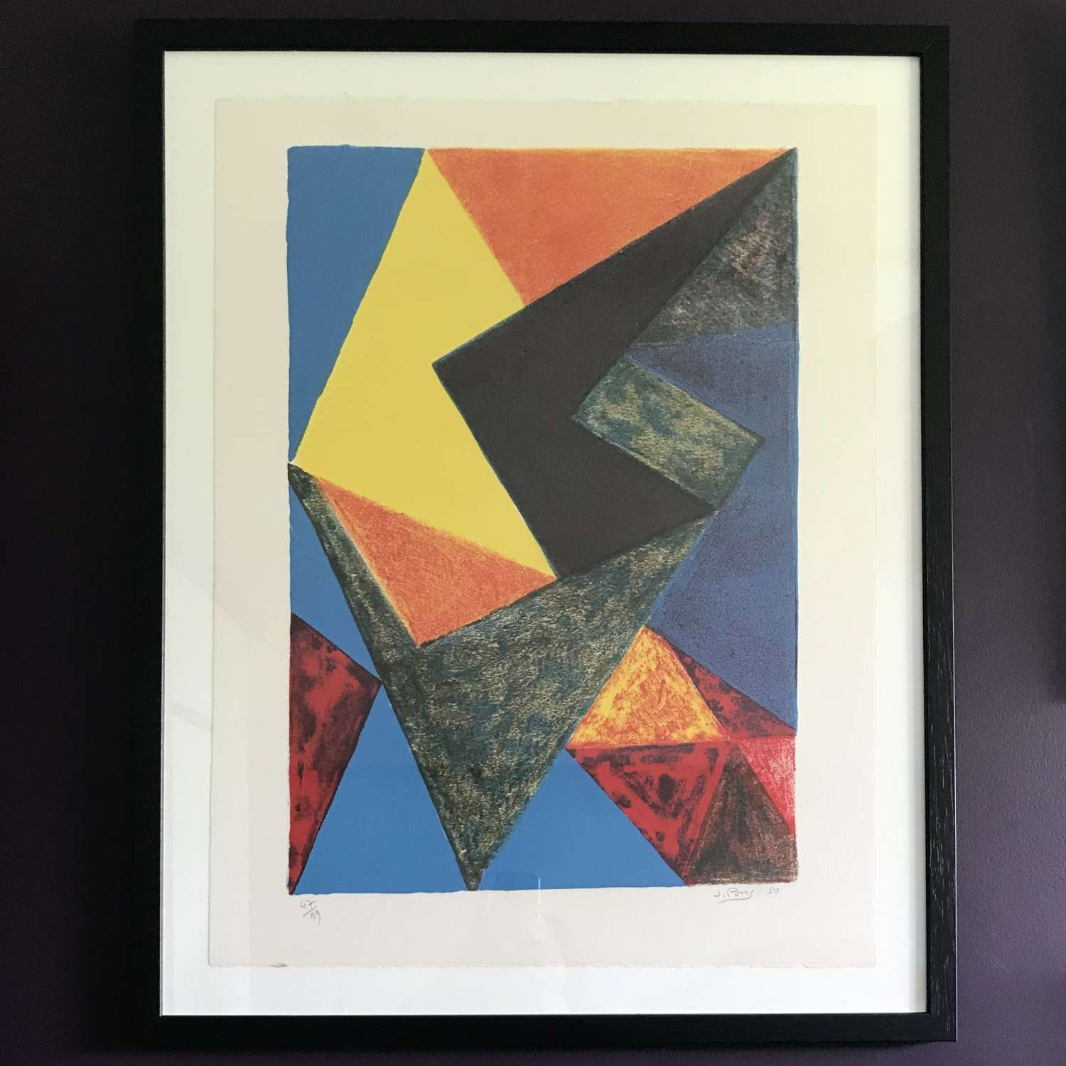 Jean Pons Abstract lithograph in many colours France 1950