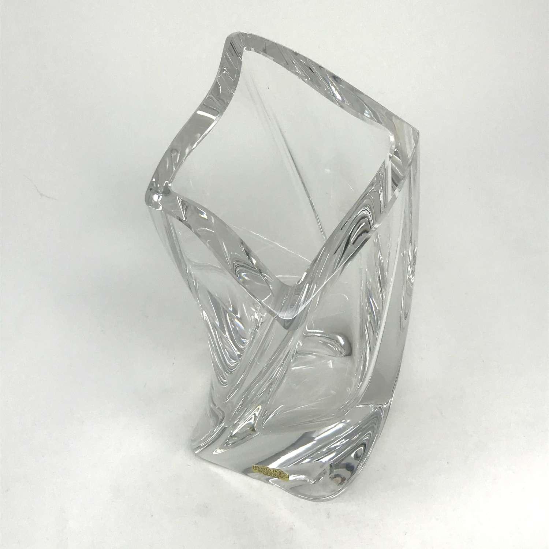 Goran Warff Twisted glass vase Kosta Boda Sweden 1990s