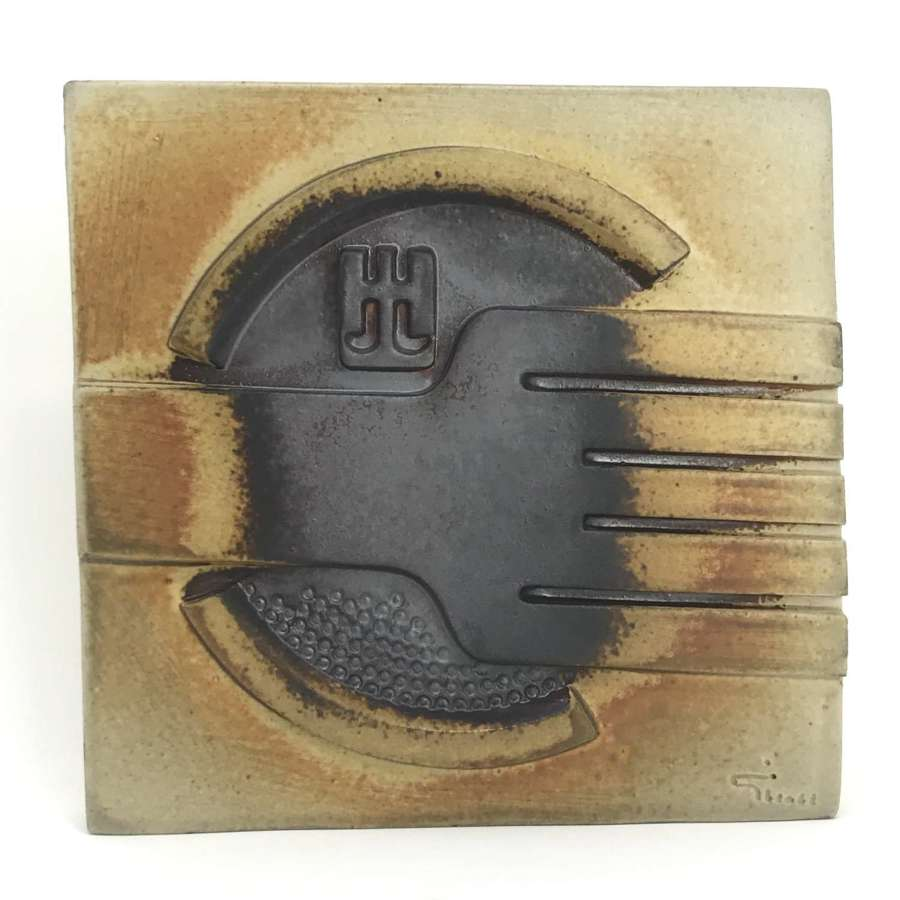 Claes Thell Stoneware wall plaque Hoganas Sweden 1980s