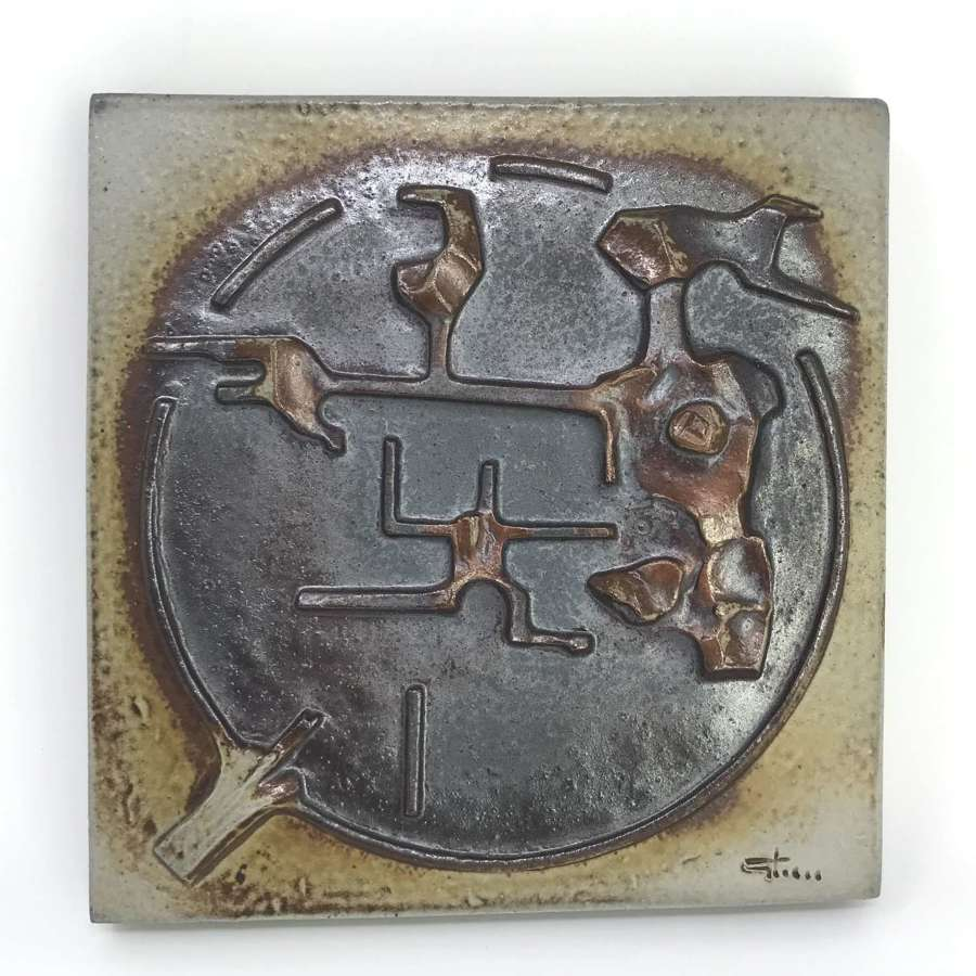 Claes Thell stoneware wall plaque Hoganas Sweden 1980