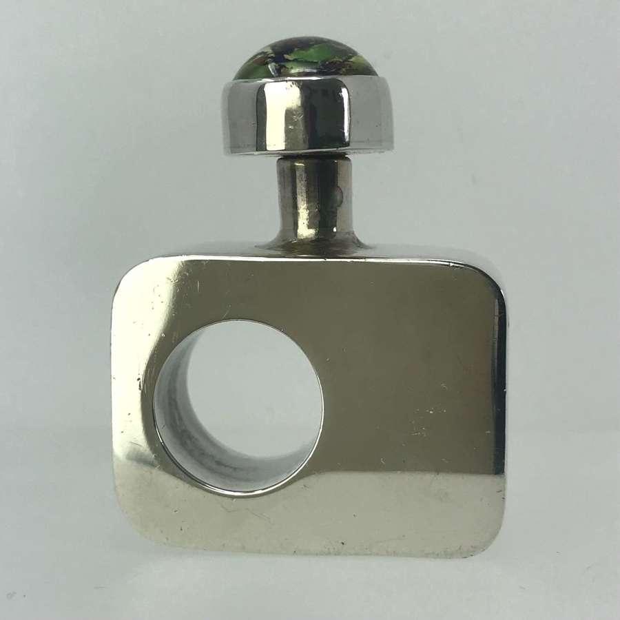 Modernist Silver scent bottle with foil opal cabochon Mexico c1970s