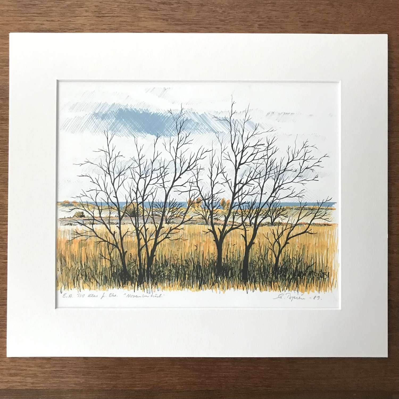 Eke Bjeren lithograph of winter landscape Sweden 1989