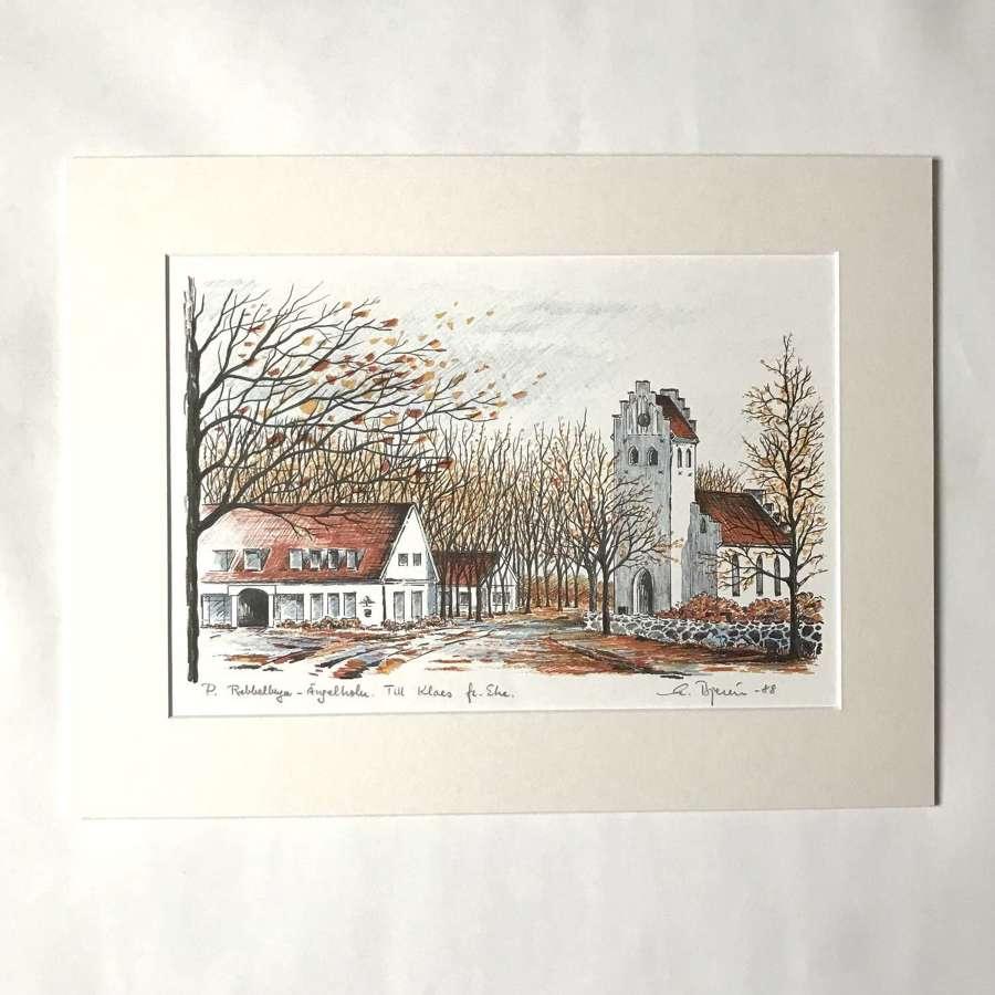 Eke Bjeren lithograph Swedish church in autumn 1988