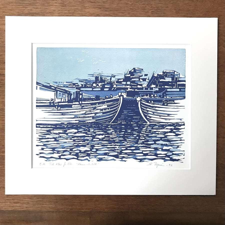 Eke Bjeren lithograph harbour scene Sweden 1992