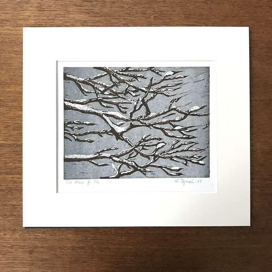 Eke Bjeren lithograph tree in winter, Sweden 1983