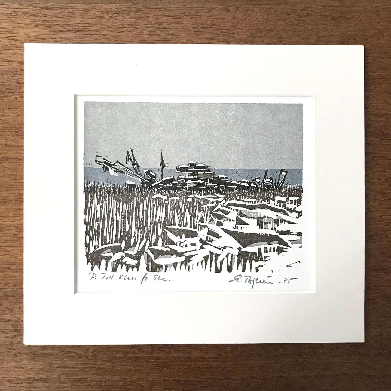 Eke Bjeren lithograph Seascape Sweden 1985