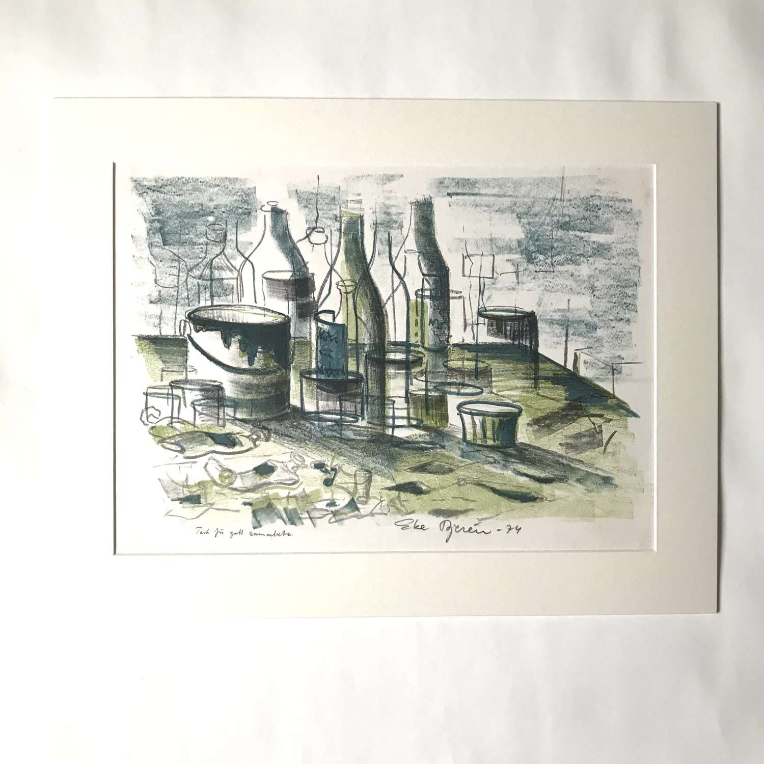 Eke Bjeren lithograph still life with paints and bottles Sweden 1974