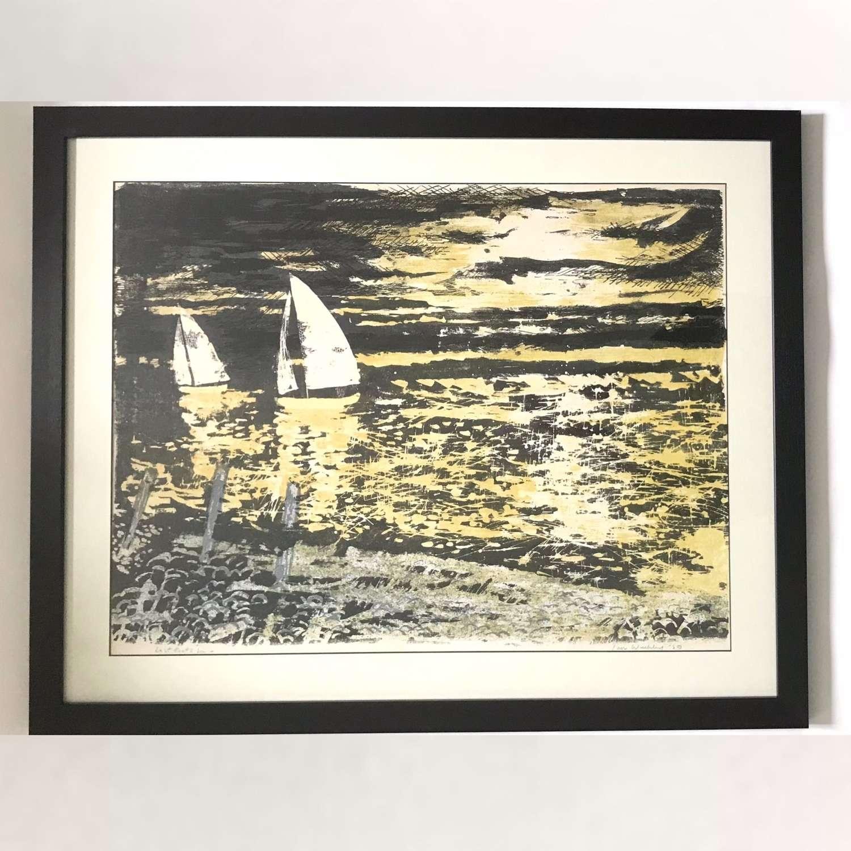 Ian Weekley Lithograph Last Boats In, England 1959