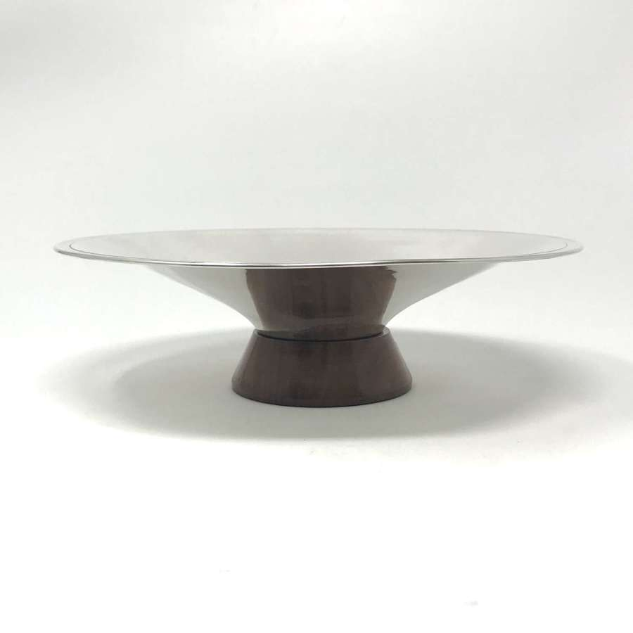 Viners Modernist silver bowl with wooden foot England 1961