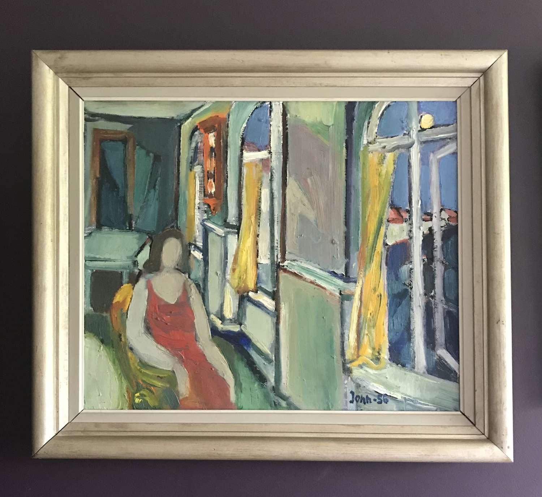 Gunnar Jonn Woman at a window Oil on Canvas Sweden 1956