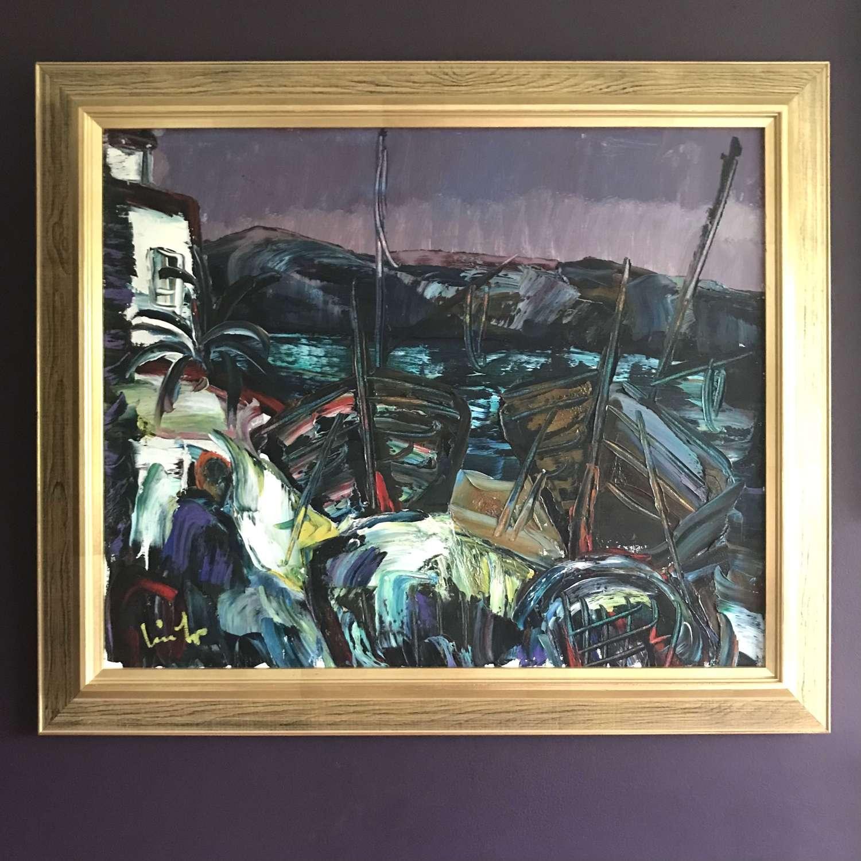 Erik Lo Ohlqvist Mediterranean Harbour Scene Oil on Canvas c1960s
