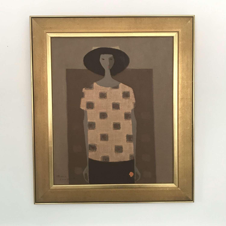 Fabian Lundqvist Woman in a Hat Oil on Canvas Sweden c1960s