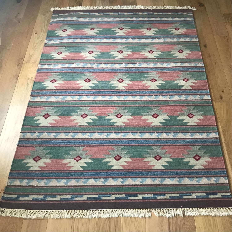 Swedish handwoven woollen  röllakan rug c1960s in pink blue and green