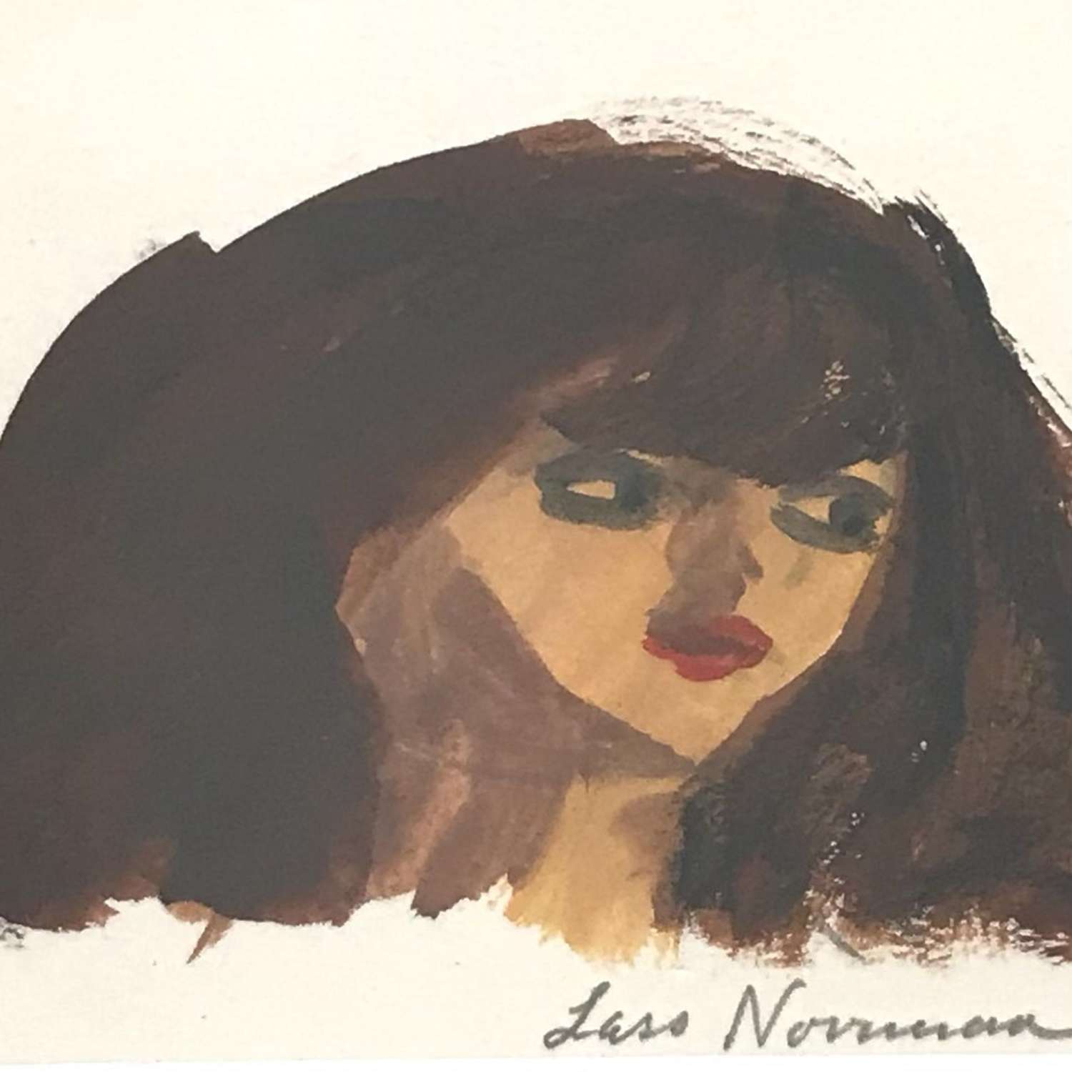 Lars Norrman Woman with red lipstick Gouache Sweden 1960s
