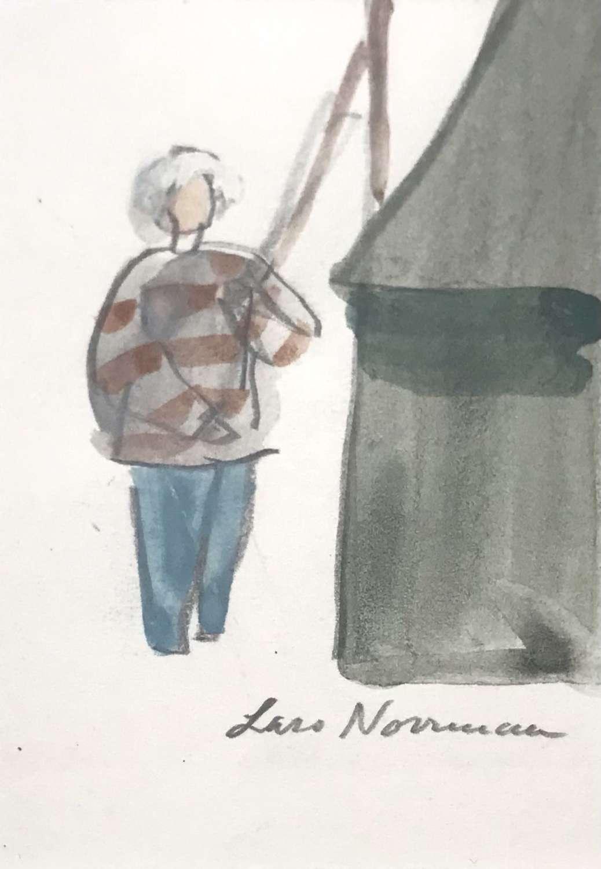 Lars Norrman Fisherman with stripy jumper gouache Sweden 1960s