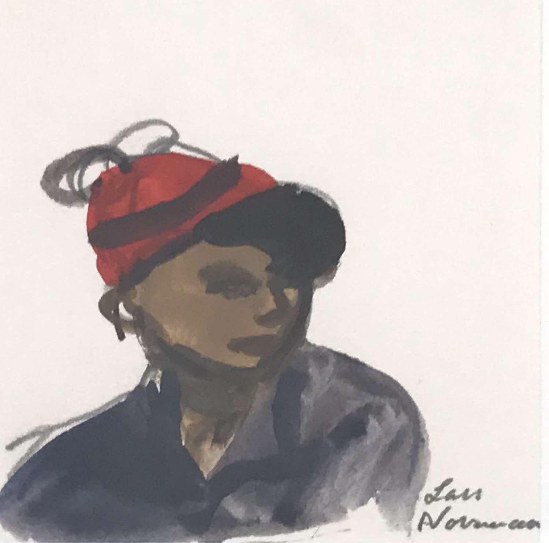 Lars Norrman Woman in Red Hat Gouache Sweden 1960s