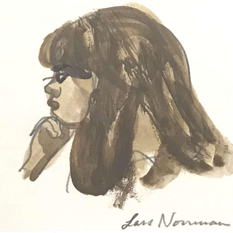 Lars Norrman Woman in Profile Gouache Sweden 1960s