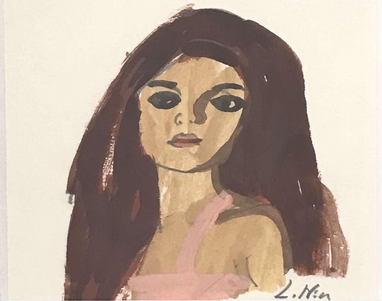 Lars Norrman Woman with Auburn Hair Gouache Sweden 1960s