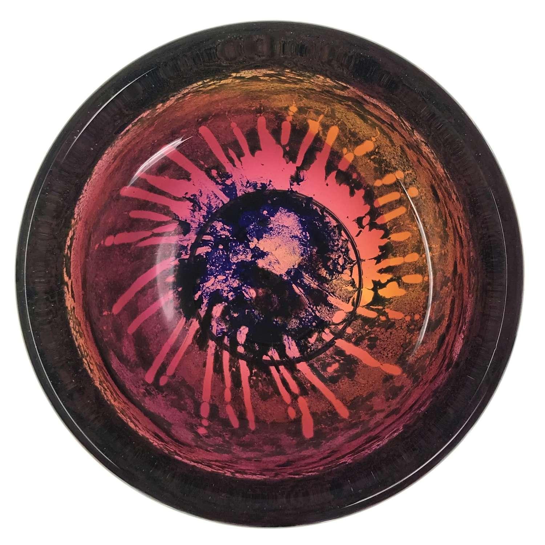 Goran Warff multi-coloured glass bowl Kosta Sweden 1970s