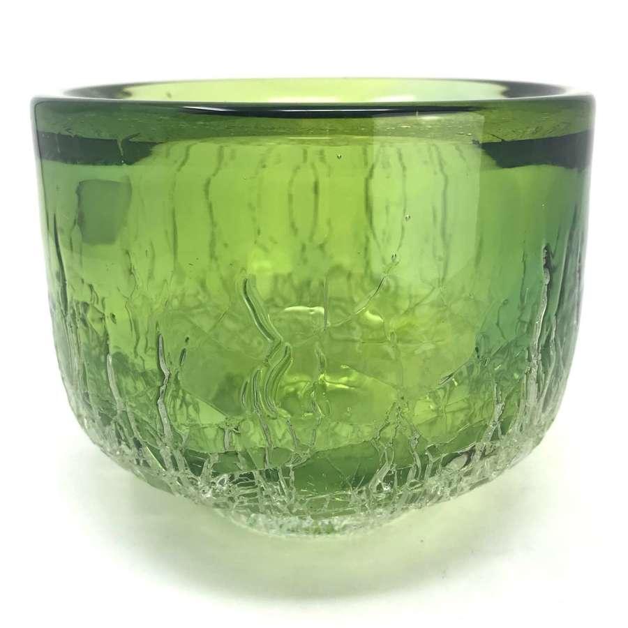 Goran Warff green ice bowl Kosta Sweden 1970s