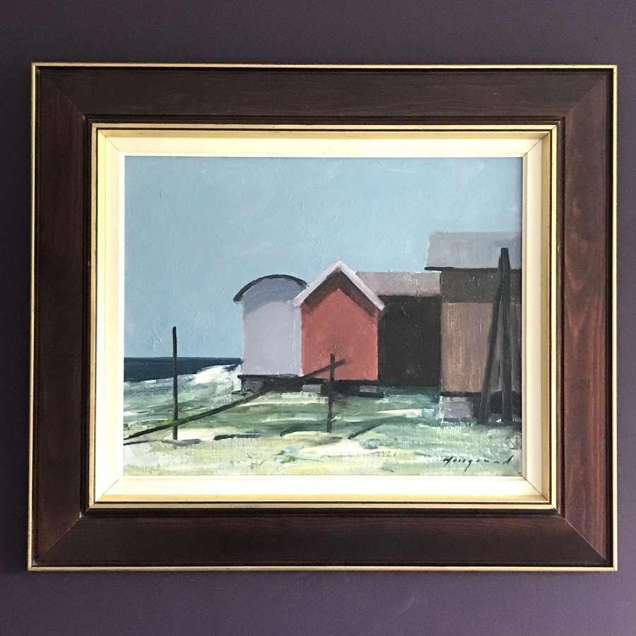 Bengt Hillgrund Boat Sheds Oil on Canvas Sweden