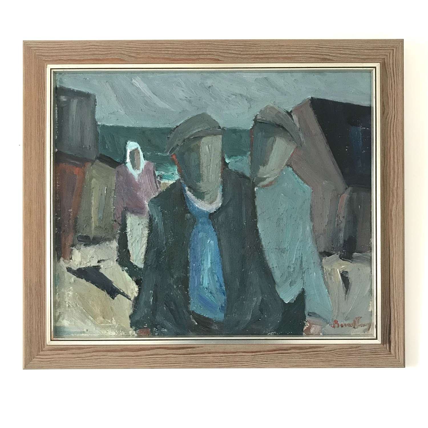 Carl Berndtsson Three figures at the harbour oil on canvas Sweden