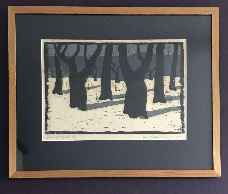 Eric Cederberg print of trees Sweden 1969